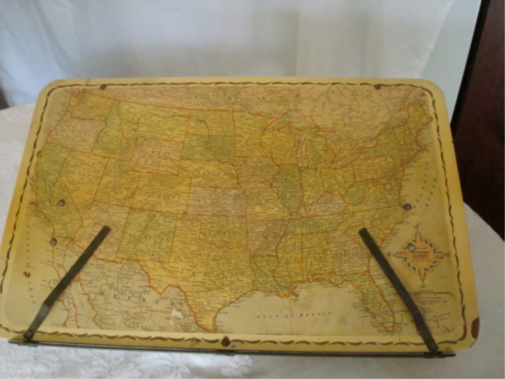 Early Metal Lap Desk with Map of US