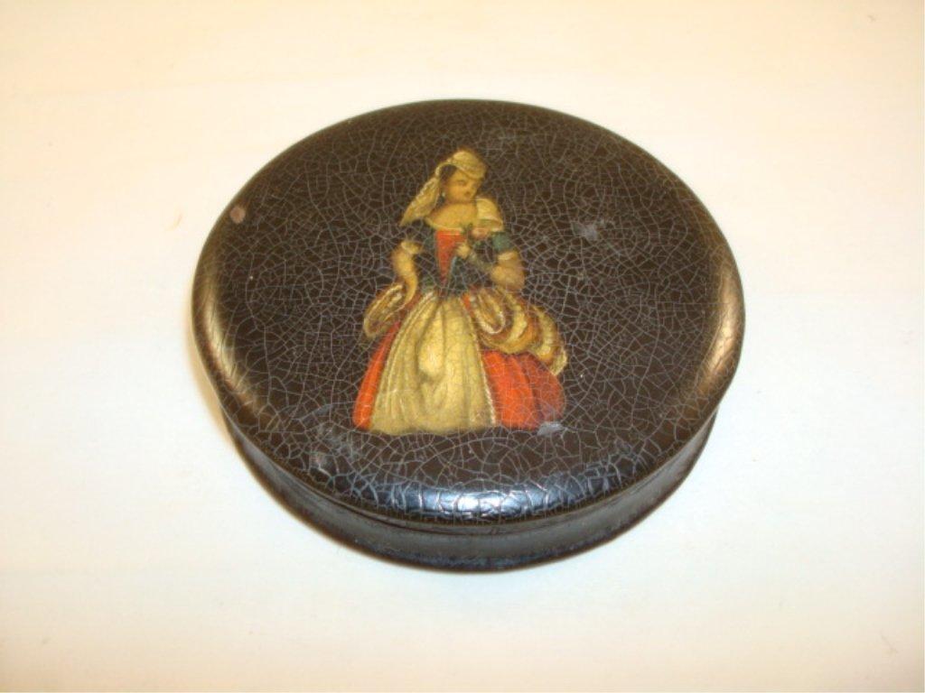 19th Century Paper Mache Patch Box Victorian Lady