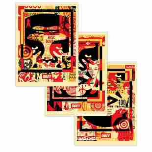 SHEPARD FAIREY - 3 - FACE COLLAGE - SIGNED SET