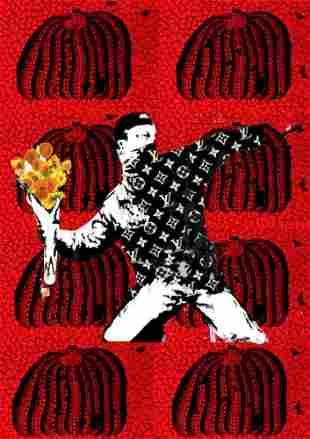 "DEATH NYC - ""RED PUMKIN THROW 1"" - BANKSY X KUSAMA"
