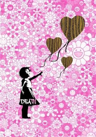 "DEATH NYC - ""BALLN FLWR GIRL PNK 1"" - BANKSY X MURAKAMI"