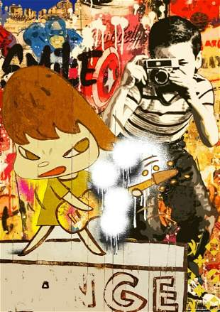 DEATH NYC - BW NAR - (MR. BRAINWASH X YOSHITOMO NARA)