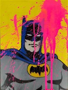 13.13 - BIG PINK SPLASH VS BATMAN - ORIGINAL ON WOOD