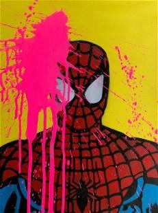 13.13 - BIG PINK SPLASH VS SPIDERMAN - ORIGINAL ON WOOD