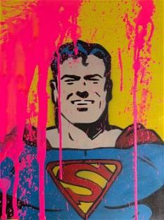 13.13 - BIG PINK SPLASH VS SUPERMAN - ORIGINAL ON WOOD