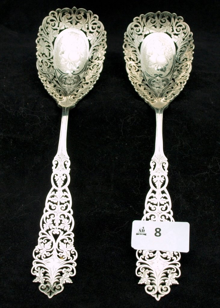 Pair Etched Spoons