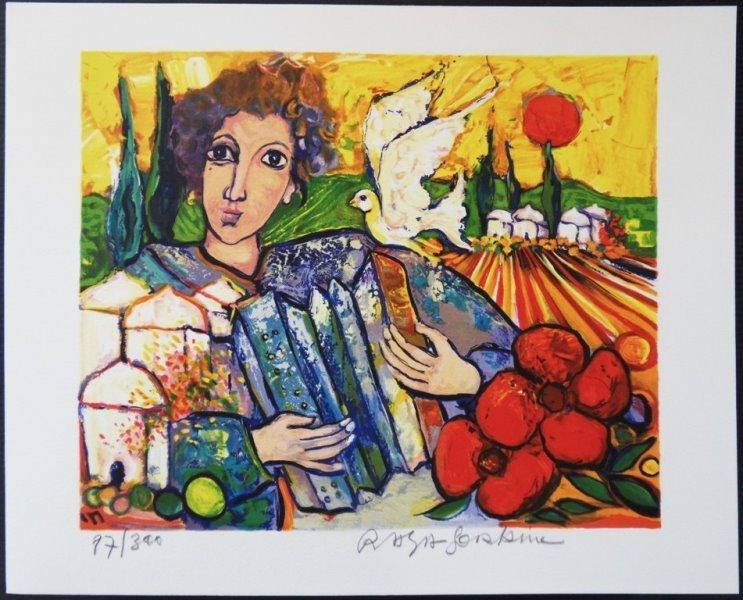 "RAYA SORKINE : Original handsigned lithograph ""Musician"