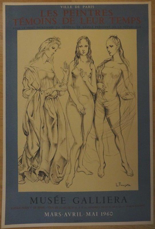 """FOUJITA : Original signed lithograph """"Les trois graces"""