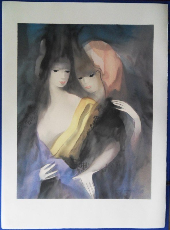"""LAURENCIN Marie : Signed lithograph """"The two sisters"""""""