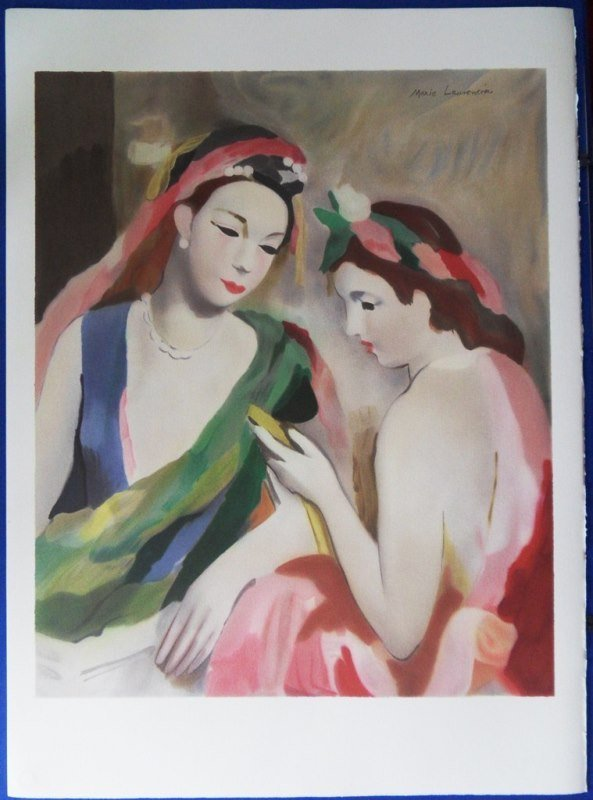 """LAURENCIN Marie : Signed lithograph """"Two elegant women"""""""