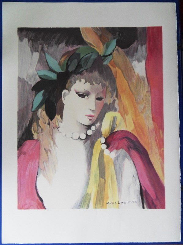 """LAURENCIN Marie : Signed lithograph """"Woman with laurel"""