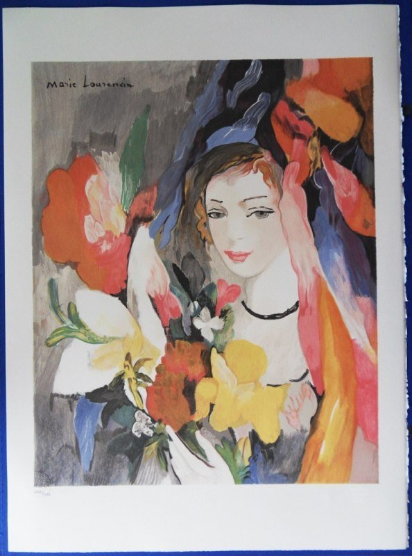 """LAURENCIN Marie : Signed lithograph """"Woman with flowers"""