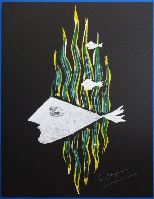 """BRAQUE Georges : Signed lithograph """"The god of the rive"""