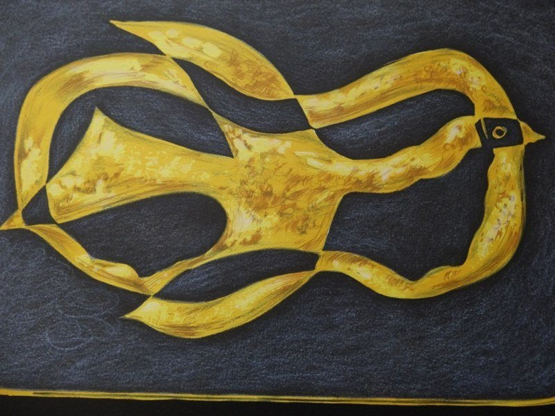 """BRAQUE Georges : Signed lithograph """"Flying bird"""""""