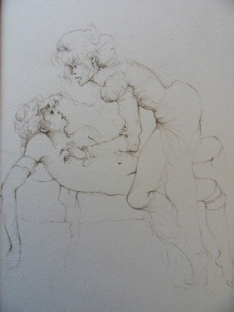 """FINI Leonor : ORIGINAL DRAWING """"Couple on bed"""" SIGNED"""