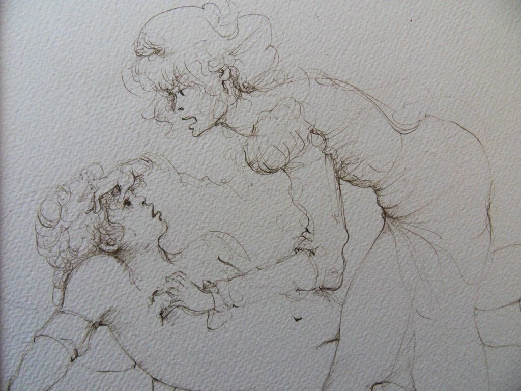 """FINI Leonor : ORIGINAL DRAWING """"Couple on bed"""" SIGNED - 2"""