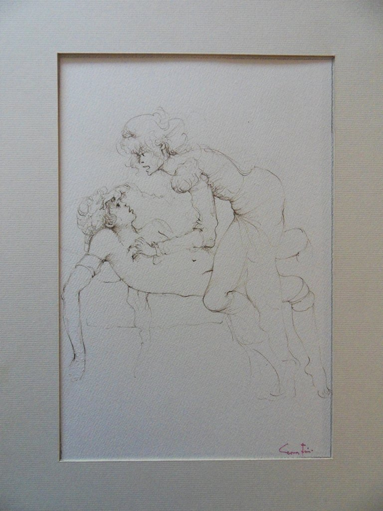 """FINI Leonor : ORIGINAL DRAWING """"Couple on bed"""" SIGNED - 6"""