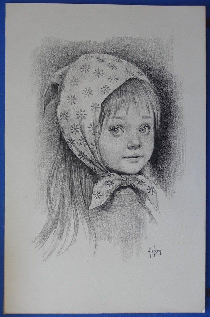 """ASLAN : """"Young girl"""" - Original Pencil drawing # SIGNED"""
