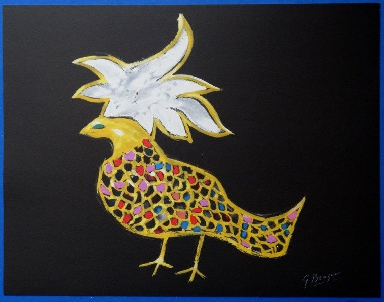 """BRAQUE Georges : Signed lithograph """"The fire bird"""""""