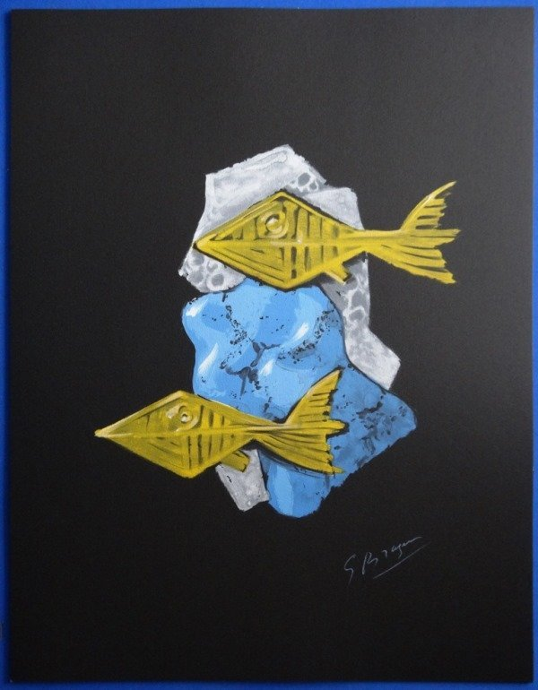 "BRAQUE Georges : Signed lithograph ""Two fishes"""