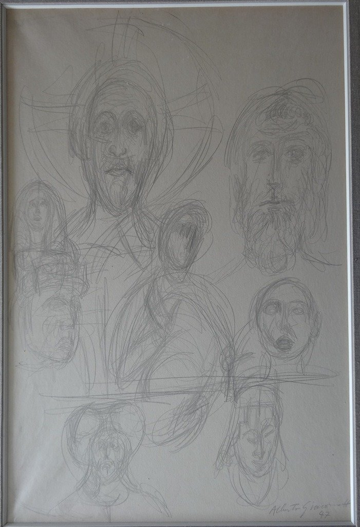 GIACOMETTI Alberto : Two original signed drawings with