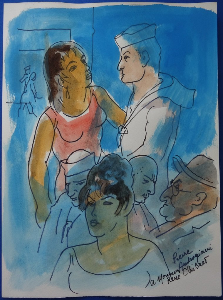 AMBROGIANI Pierre : At he Harbour - Handsigned