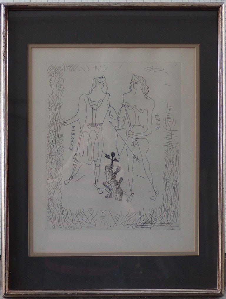 BRAQUE Georges : Eurybia & Eros - Original etching