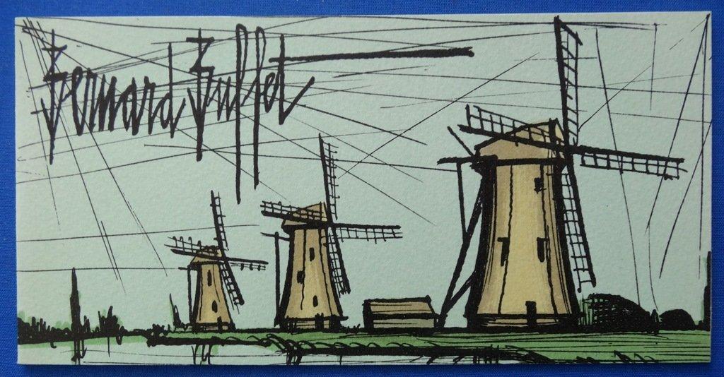 BUFFET Bernard : Three Windmills - Orig. LITHOGRAPH