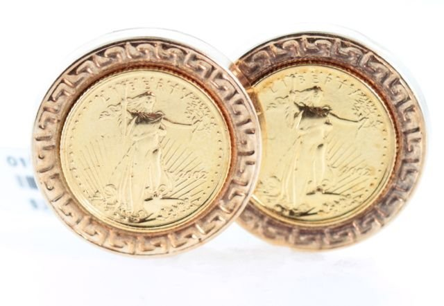 14K yellow gold earrings with Two Gold Liberty Coins