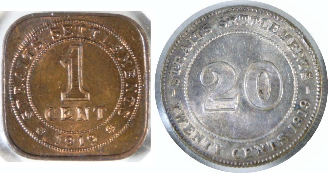 Straits Settlements, 1919, Bronze Cent; 1919, Silver