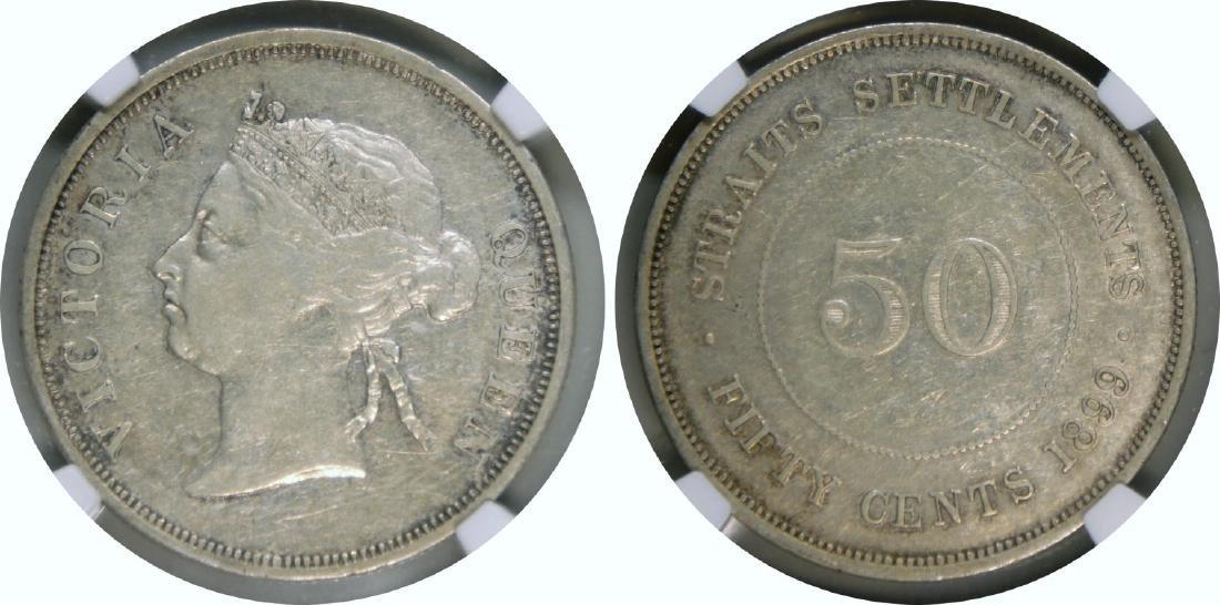 Straits Settlements, 1899, Silver 50c. NGC VF 30