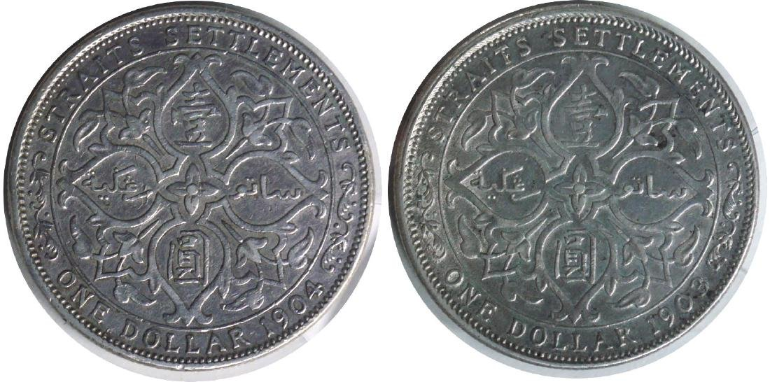 Straits Settlements, Silver Dollar: 1903B and 1904B x2.
