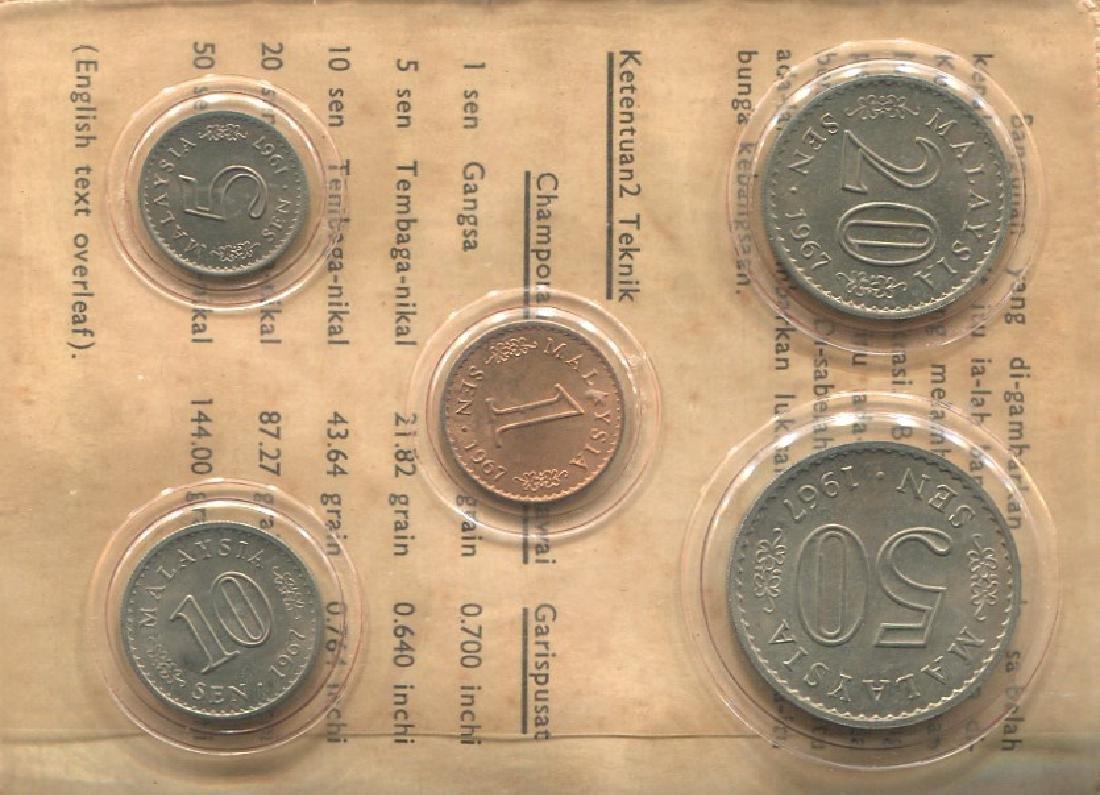 Malaysia, 1967, 5pcs wallet coin set. UNC