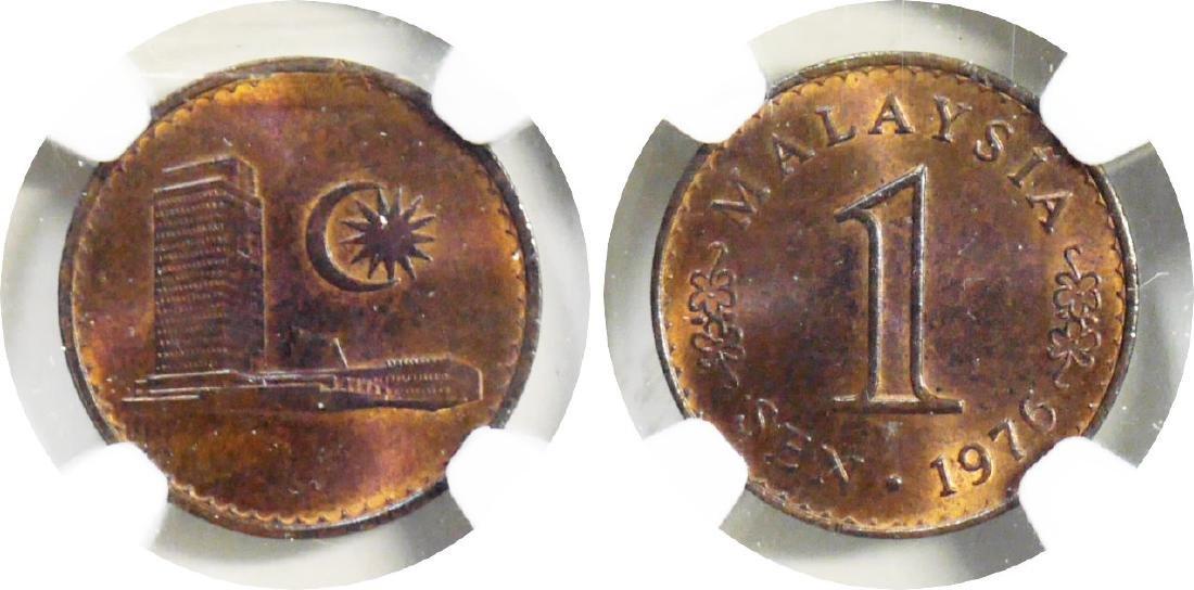 Malaysia, 1976, Bronze Sen. NGC MS 64 RB