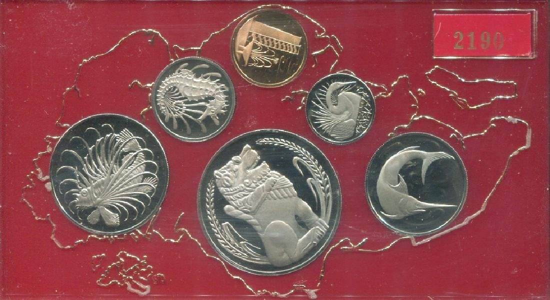 SG, 1975, 1c ~ $1, proof set of 6pcs in case with