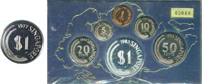 SG, 1977, Silver Proof dollar coin and 1983, 1c~$1