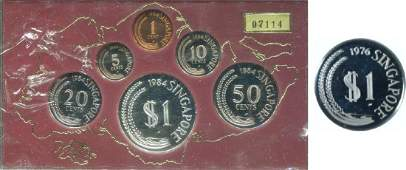 SG, 1976, Silver Proof dollar coin and 1984, 1c~$1