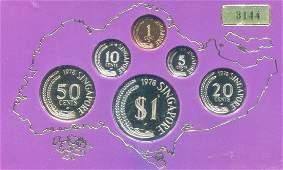SG, Proof 1c - $1, 6pcs/set in deluxe case, 1978