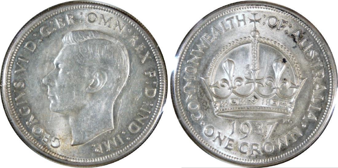 Australia, 1937, Silver Crown. AU-UNC