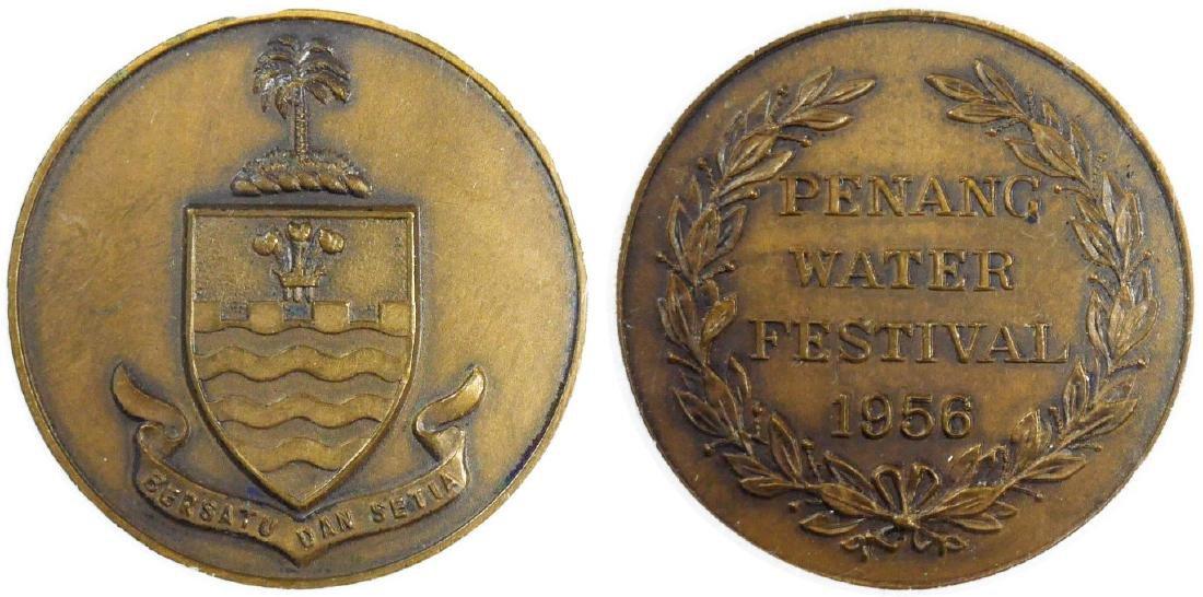 Penang, 1956, Water Festival, Copper Medallion. UNC
