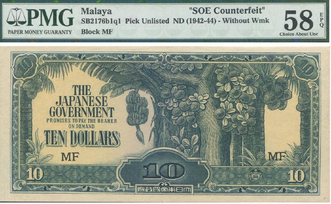 Malaya / Japanese Occupation, 1942-44, $10, SOE