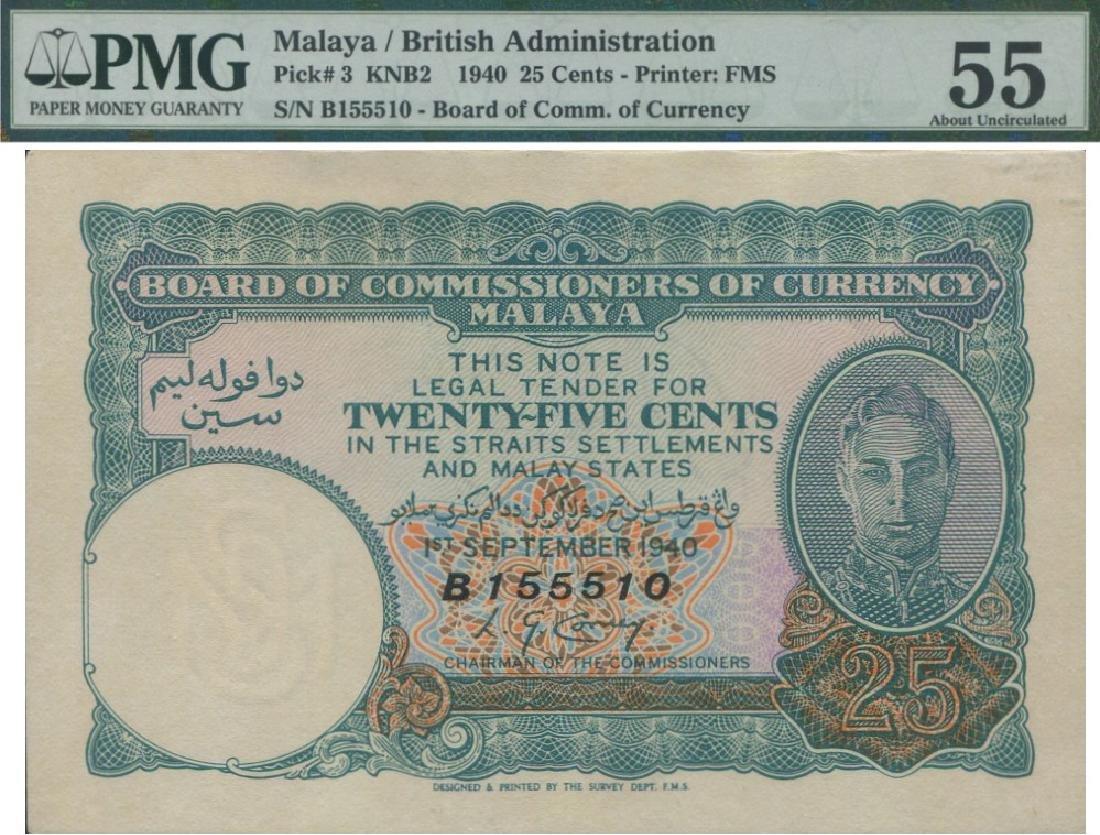 Malaya, 1940, 25c. PMG AU 55
