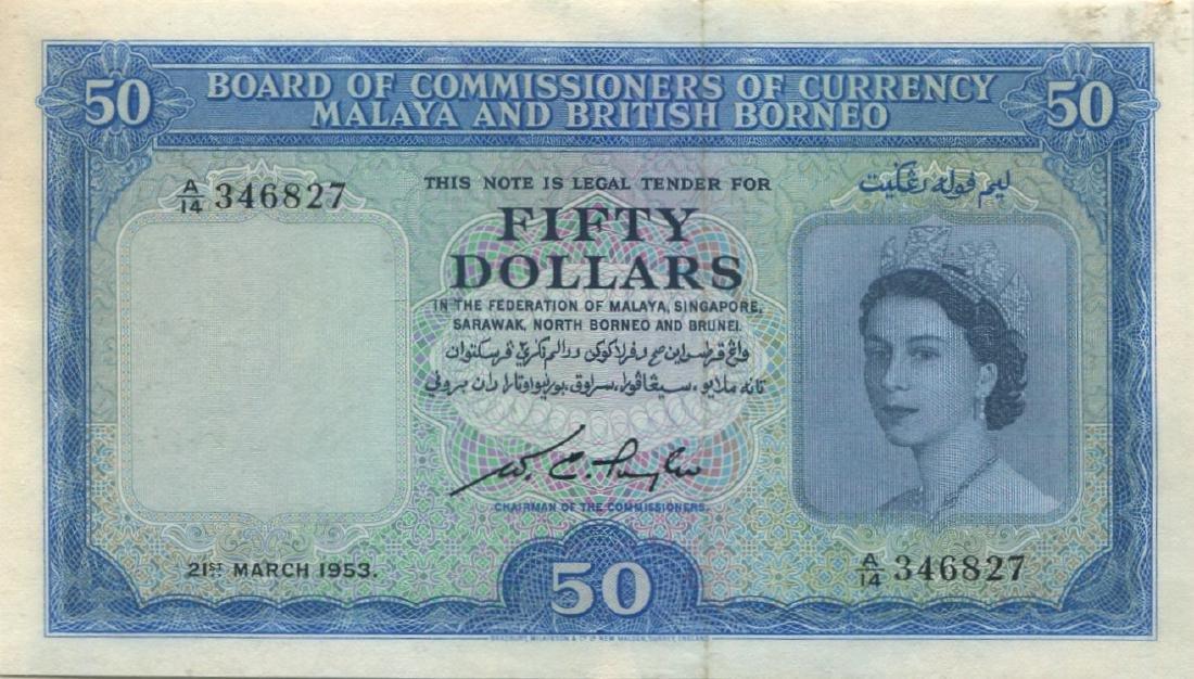 Malaya & British Borneo, 1953, $50. GEF