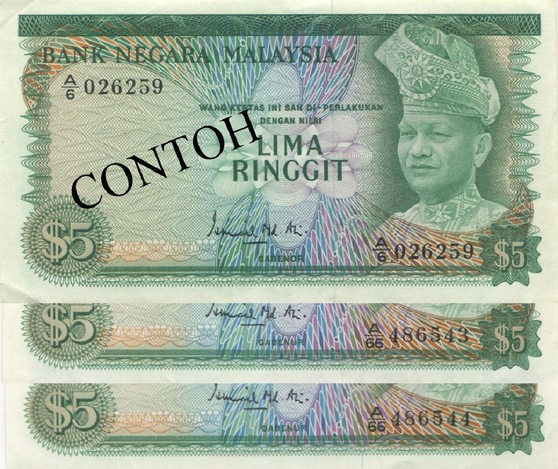 Malaysia, RM 5, 1st series, 3pcs
