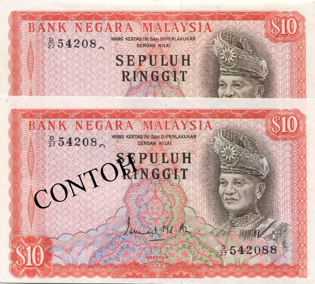 Malaysia, 2nd series, RM 10, printing error. AU-UNC