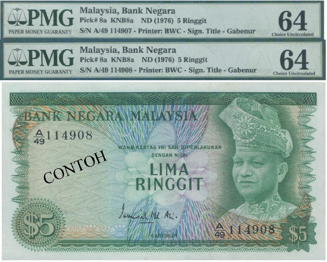 MY, 2nd series, RM 5, consecutive pair PMG UNC 64