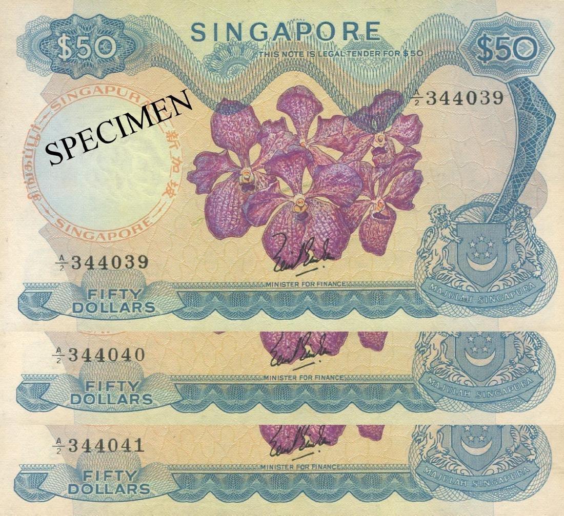 SG, Orchid, $50, 3pcs, LKS. AU/UNC