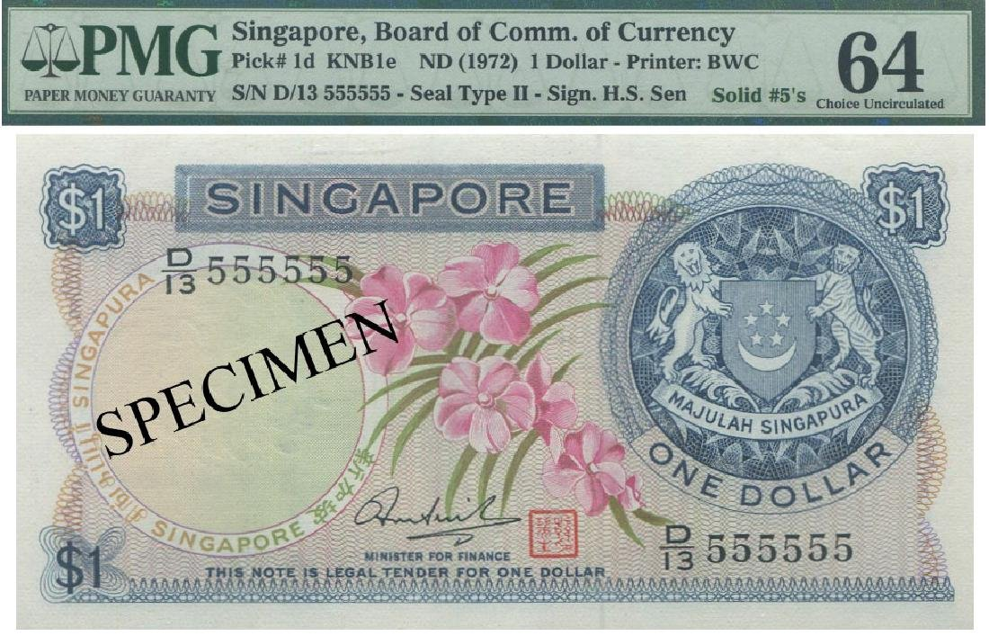 SG, Orchid, $1, D/13 555555, HSS with red seal, PMG UNC