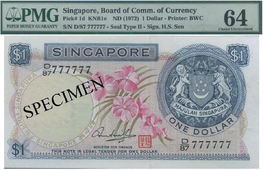 SG, Orchid, $1, D/87 777777 HSS with red seal. PMG UNC