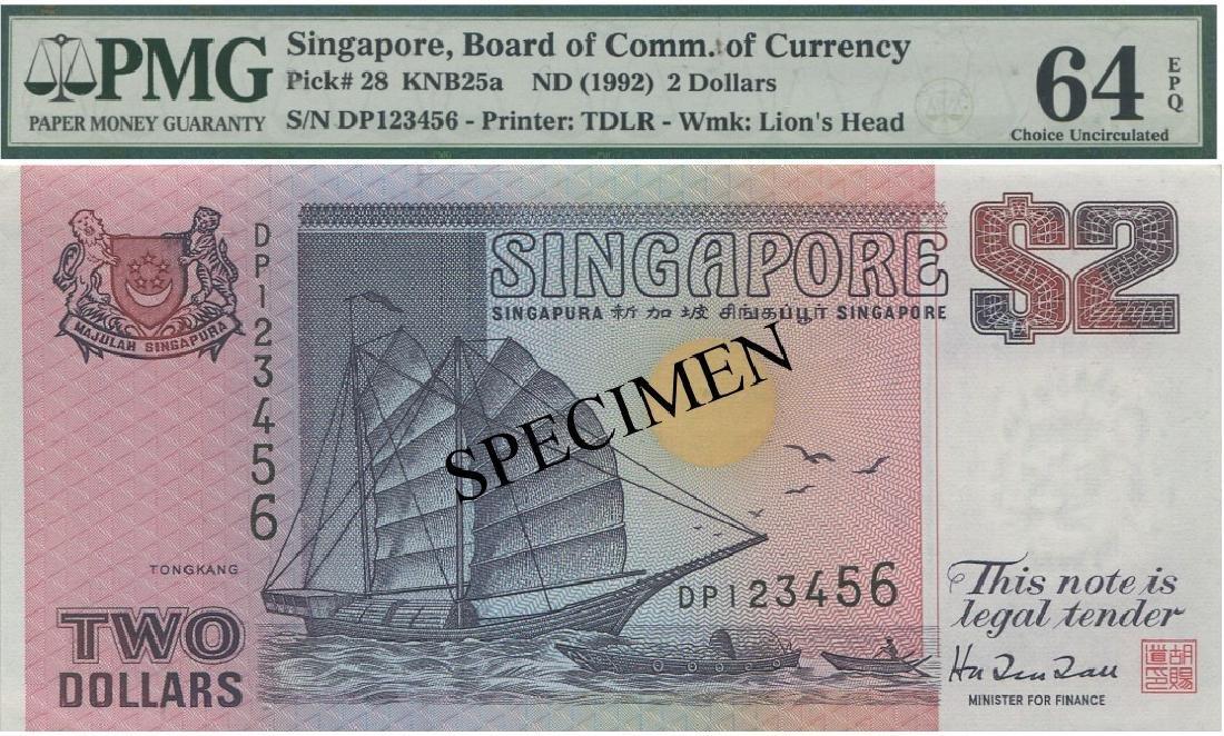 SG, Ship, $2, DP123456. PMG UNC 64 EPQ